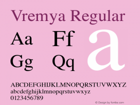 Vremya Regular Altsys Fontographer 3.5  6/26/92图片样张