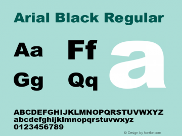 Arial Black Regular Version 5.00.1x图片样张
