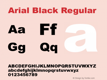 Arial Black Regular Version 2.30图片样张