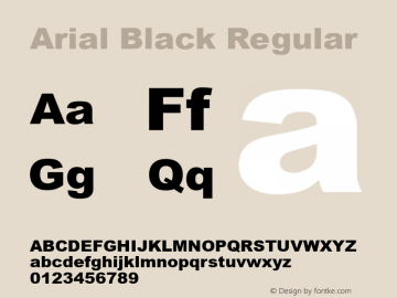 Arial Black Regular Version 5.06图片样张
