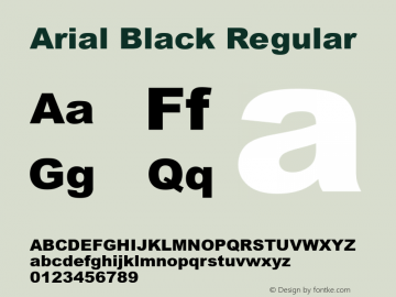 Arial Black Regular Version 5.10图片样张