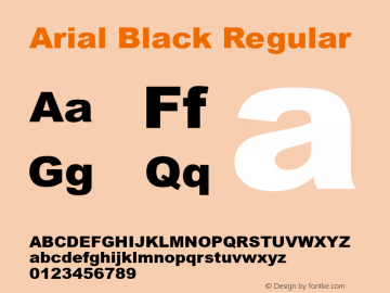 Arial Black Regular Version 5.11图片样张