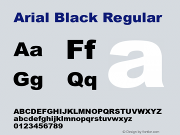 Arial Black Regular Version 5.00a图片样张