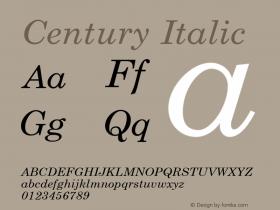 Century Italic 1.000 Font Sample