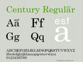 Century Regular Macromedia Fontographer 4.1 7/3/96 Font Sample