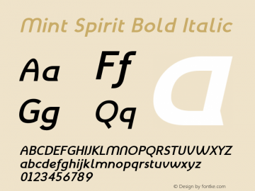 Mint Spirit Bold Italic Version 1.004;FFEdit Font Sample