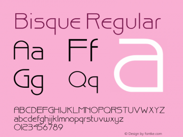 Bisque Regular 001.000 Font Sample