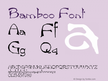 Bamboo Font Version 001.000 Font Sample