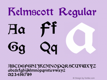 Kelmscott Regular Altsys Fontographer 3.5  10/24/92 Font Sample