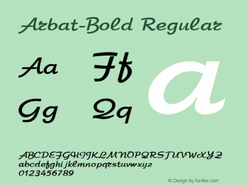 Arbat-Bold Regular Converted from c:\ttf.fnt\7ARBAT03.TF1 by ALLTYPE Font Sample
