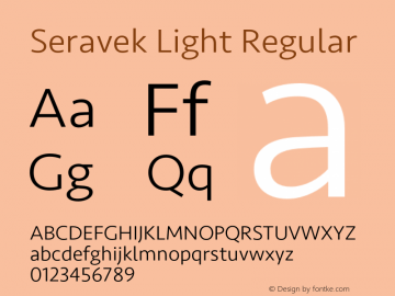 Seravek Light Regular Version 1.000 Font Sample