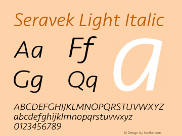 Seravek Light Italic Version 1.000 Font Sample