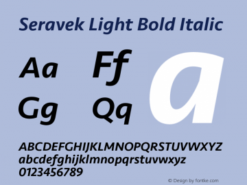 Seravek Light Bold Italic Version 1.000 Font Sample