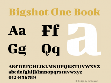 Bigshot One Book Version 1.000 Font Sample