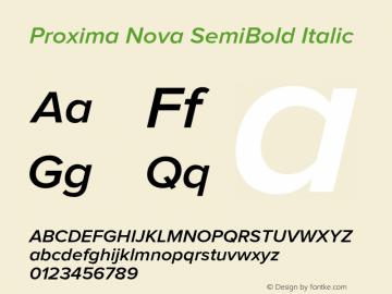 Proxima Nova SemiBold Italic Version 2.003 Font Sample