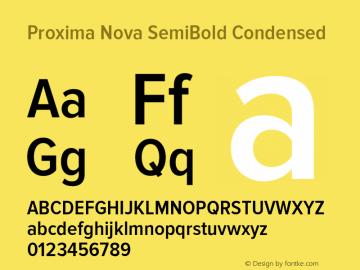 Proxima Nova SemiBold Condensed Version 2.003 Font Sample