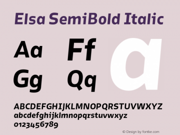 Elsa SemiBold Italic Version 1.000; Font Sample