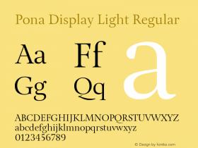 Pona Display Light Regular Version 1.000 Font Sample