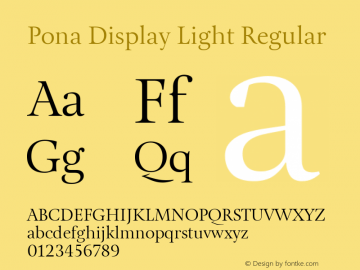 Pona Display Light Regular Version 1.000 Font Sample