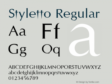 Styletto Regular Altsys Fontographer 3.5  6/25/93 Font Sample