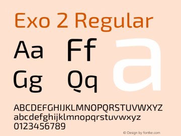 Exo 2 Regular Version 1.001;PS 001.001;hotconv 1.0.70;makeotf.lib2.5.58329 Font Sample