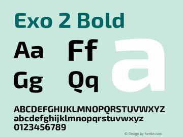 Exo 2 Bold Version 1.001;PS 001.001;hotconv 1.0.70;makeotf.lib2.5.58329 Font Sample