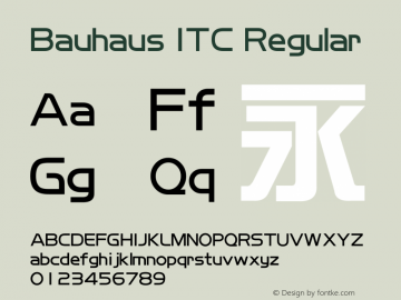 Bauhaus ITC Regular Version 1.20图片样张