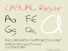 CASUAL Regular Unknown Font Sample