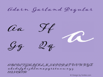 Adorn Garland Regular Version 1.000 | wf-r Font Sample