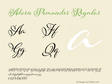 Adorn Pomander Regular Version 1.000 | wf-r Font Sample
