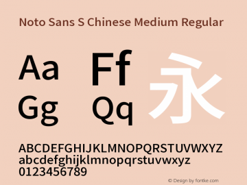 Noto Sans S Chinese Medium Regular Version 1.000;PS 1;hotconv 1.0.78;makeotf.lib2.5.61930 Font Sample
