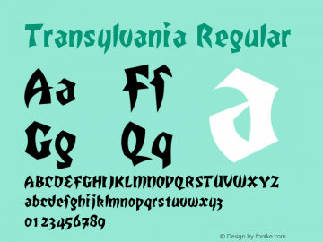 Transylvania Regular The IMSI MasterFonts Collection, tm 1995, 1996 IMSI (International Microcomputer Software Inc.) Font Sample