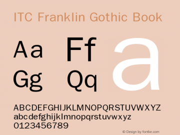ITC Franklin Gothic Book Version 001.001 Font Sample