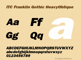 ITC Franklin Gothic HeavyOblique Version 001.001 Font Sample