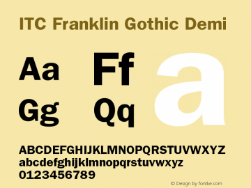 ITC Franklin Gothic Demi Version 001.001 Font Sample