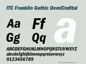 ITC Franklin Gothic DemiCndItal Version 001.000 Font Sample