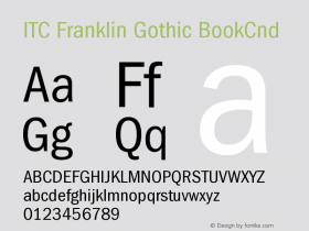ITC Franklin Gothic BookCnd Version 001.000 Font Sample