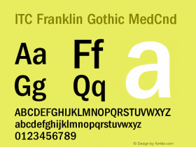 ITC Franklin Gothic MedCnd Version 001.000 Font Sample