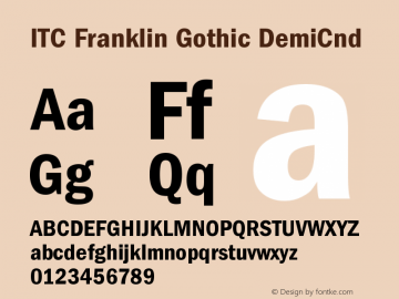 ITC Franklin Gothic DemiCnd Version 001.000 Font Sample