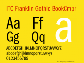 ITC Franklin Gothic BookCmpr Version 001.000 Font Sample