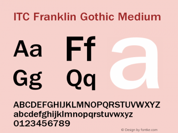 ITC Franklin Gothic Medium Version 001.000 Font Sample