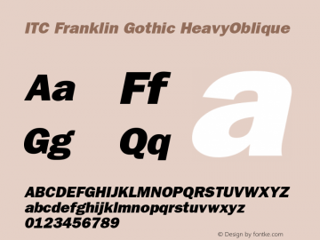 ITC Franklin Gothic HeavyOblique Version 001.002 Font Sample