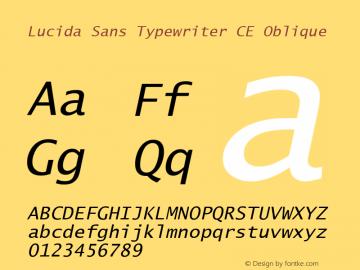 Lucida Sans Typewriter CE Oblique Version 1.01 Font Sample