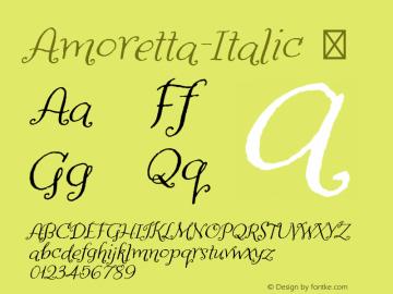 Amoretta-Italic ☞ Version 1.000;PS 001.000;hotconv 1.0.70;makeotf.lib2.5.58329;com.myfonts.easy.tart-workshop.amoretta.italic.wfkit2.version.4jJt图片样张