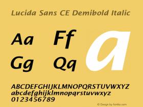Lucida Sans CE Demibold Italic Version 1.01 Font Sample