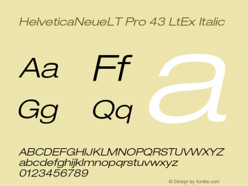 HelveticaNeueLT Pro 43 LtEx Italic Version 1.000;PS 001.000;Core 1.0.38图片样张