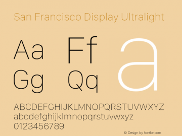 San Francisco Display Ultralight 10.0d46e1 Font Sample