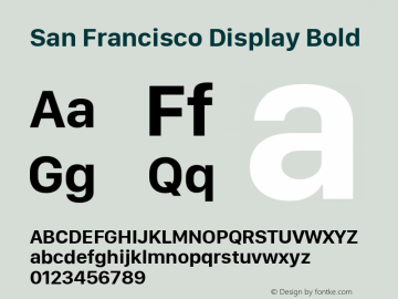 San Francisco Display Bold 10.0d27e2--BETA Font Sample