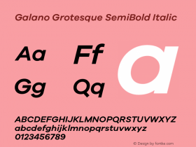 Galano Grotesque SemiBold Italic Version 1.000 Font Sample