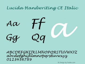 Lucida Handwriting CE Italic Version 1.01 Font Sample